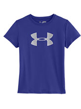 Girls UA Purple & White Logo Tee from Under Armour Gymnastics