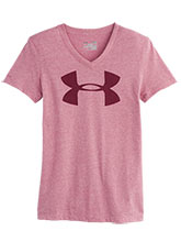 Womens UA Pink Sky V Neck Logo Tee from Under Armour Gymnastics