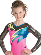 Abstract Wave Long Sleeve Leotard from GK Gymnastics