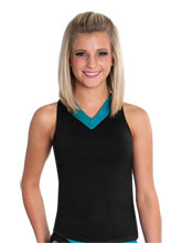 V Neck Crop Top with Mesh Racerback from GK Cheer