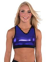 V Neck Crop Top with Mesh Detailing from GK Cheer
