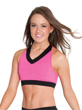 Berry V Neck Crop Top w/ Twist Back From GK Cheer