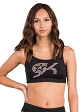 GK All Star Crystal Crisscross Strappy Crop Top from GK Cheer