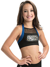 Halter Mesh Inset Cheer Crop Top in Royal or Red from GK Cheer