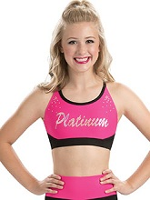 Pink or Blue with Black CropTop Laser Cut Keyhole Back From GK Cheer