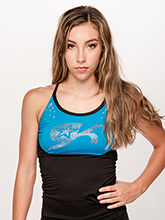 GK All Star Crystal Keyhole Back LongTop from GK Cheer