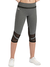 Performance Grey Heather High-Waisted Capris with Pop Mesh from GK Cheer