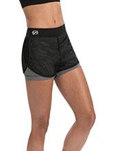 Performance Grey Heather & Black Mesh Overlay Shorts from GK Cheer