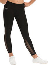 High-Waisted Black 7/8 Cheer Tight with Mesh Tights from GK Cheer