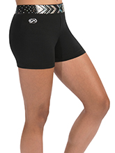 Black Cheer Shorts w/ Silver Spanglez Waistband from GK Cheer
