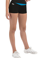 Black High-Waisted Cheer Shorts with Blue or Pink Waistband from GK Cheer