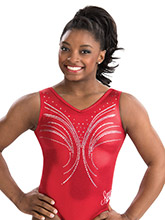 Simone Biles Mistletoe Magic Leotard from GK Gymnastics
