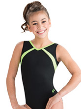 Neon Lime Accent Tank Leotard from GK Gymnastics