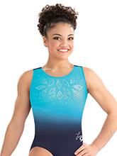 Laurie Hernandez Navy Glimmer Leotard from GK Gymnastics