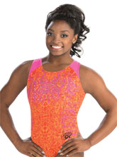 Simone Biles Atomic Tangerine Leotard from GK Gymnastics