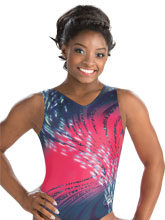 Simone Biles Pink Whirl Wind Leotard from GK Gymnastics